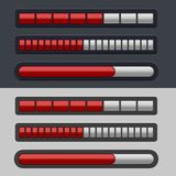 Red Striped Progress Bar Set Royalty Free Stock Images