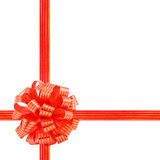 Red striped ribbon gift bow Royalty Free Stock Photos