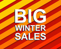 Red striped sale poster with BIG WINTER SALE text. Advertising  banner. Red striped sale poster with BIG WINTER SALE text. Bright advertising  banner template Royalty Free Stock Image