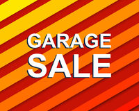 Red striped sale poster with GARAGE SALE text. Advertising  banner Stock Images