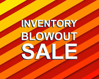 Red striped sale poster with INVENTORY BLOWOUT SALE text. Advertising  banner Stock Photos