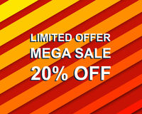 Red striped sale poster with LIMITED OFFER MEGA SALE 20 PERCENT OFF text. Advertising  banner Stock Photos