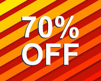 Red striped sale poster with 70 PERCENT OFF text. Advertising  banner Stock Photo