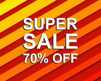Red striped sale poster with SUPER SALE 70 PERCENT OFF text. Advertising  banner Stock Photos