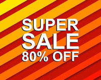Red striped sale poster with SUPER SALE 80 PERCENT OFF text. Advertising banner. Red striped sale poster with SUPER SALE 80 PERCENT OFF text. Bright advertising royalty free illustration