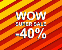 Red striped sale poster with WOW SUPER SALE MINUS 40 PERCENT text. Advertising banner. Red striped sale poster with WOW SUPER SALE MINUS 40 PERCENT text. Bright royalty free illustration