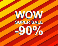 Red striped sale poster with WOW SUPER SALE MINUS 90 PERCENT text. Advertising  banner Royalty Free Stock Images