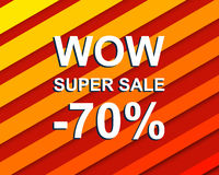 Red striped sale poster with WOW SUPER SALE MINUS 70 PERCENT text. Advertising  banner Royalty Free Stock Images
