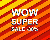 Red striped sale poster with WOW SUPER SALE MINUS 30 PERCENT text. Advertising  banner Stock Photography