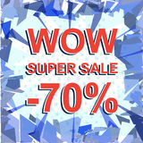 Red striped sale poster with WOW SUPER SALE MINUS 70 PERCENT text. Advertising banner Royalty Free Stock Image