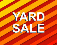 Red striped sale poster with YARD SALE text. Advertising  banner Royalty Free Stock Photos
