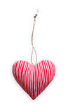 Red striped sewed pillow heart isolated on white background, valentine Stock Photography