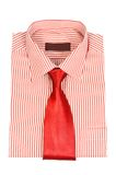Red striped shirt. & tie on white background royalty free stock photos