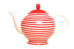 Red striped teapot Royalty Free Stock Photos