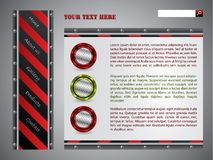 Red striped website template Stock Photography