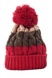 Red striped winter ski knit hat isolated on white background vertical Stock Images
