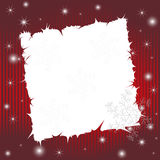 Red striped wishing card with snowflakes Stock Images