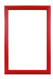 Red striped wooden frame. Over white background Stock Photography