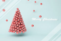 Red stripes balls Christmas tree with text Stock Photo