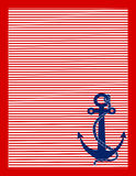 Red Stripes and Blue Anchor. A background of red and white stripes with a blue anchor in the lower right corner Royalty Free Stock Photos
