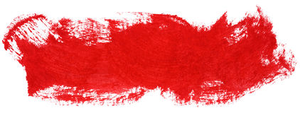 Red stroke of gouache paint brush Stock Photography