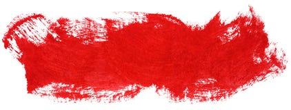 Red stroke of gouache paint brush. On white vector illustration