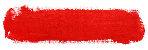 Red stroke of gouache paint brush Royalty Free Stock Image
