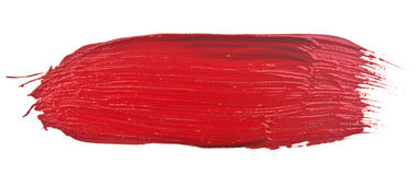 Red stroke. Of the paint brush isolated on white Stock Image