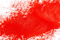 Red stroke of the paint brush. On white paper Royalty Free Stock Photo