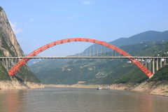 Red structure bridge Stock Photo