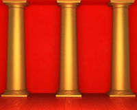 Red stucco wall with golden columns and wooden floor Royalty Free Stock Images