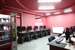 In red style interior computer club Royalty Free Stock Image