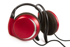 Red stylish earphone Stock Photos