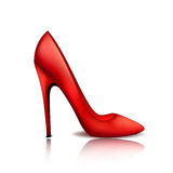 Red stylish sexy female shoe on a high heel.  Royalty Free Stock Images