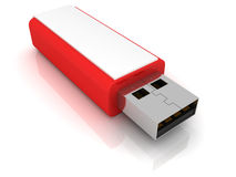 Red stylish USB flash drive Stock Photo