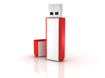 Red stylish USB flash drive memory Stock Photography
