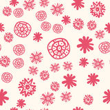 Red Stylized Flowers Naive Style Pattern. Childish Red Stylized Flowers Naive Style Pattern on White Background Stock Image