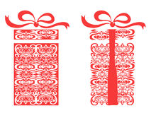 Red stylized gift box Stock Photography