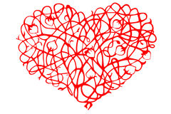 Red stylized kind heart of curls and buds Stock Photo