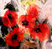 Red stylized poppies on grunge background Royalty Free Stock Photos