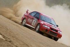 Red Subaru Impreza at rally Royalty Free Stock Photos