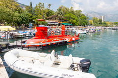 Red submarine at the pier in Budva, Montenegro Stock Photos