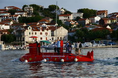 Red submarine in Trogir town Stock Photography