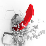 Red success arrow breaking white wall hole. 3d render illustration Stock Photo