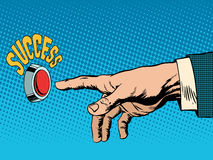 The red success button hand presses. Pop art retro style. Business concept success Stock Photography