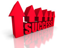 Red success text arrow on white background Stock Image