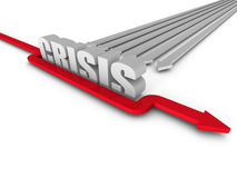 Red Successful Arrow Overcoming CRISIS Word Barrier Royalty Free Stock Images