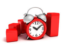 Red successful bar business finance chart alarm clock. 3d Royalty Free Stock Image