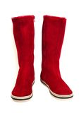 Red suede boots. Isolated on white Stock Photos