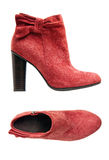 Red suede female boot, side and top views Royalty Free Stock Photo